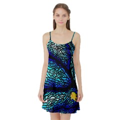 Sea Fans Diving Coral Stained Glass Satin Night Slip