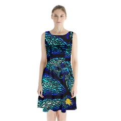 Sea Fans Diving Coral Stained Glass Sleeveless Chiffon Waist Tie Dress