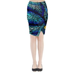 Sea Fans Diving Coral Stained Glass Midi Wrap Pencil Skirt