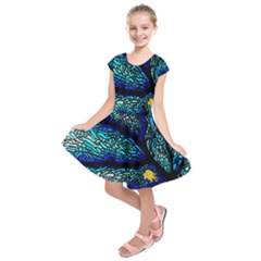 Sea Fans Diving Coral Stained Glass Kids  Short Sleeve Dress