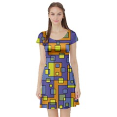 Square Background Background Texture Short Sleeve Skater Dress
