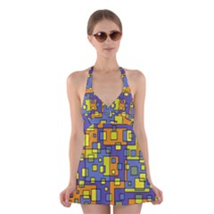Square Background Background Texture Halter Swimsuit Dress