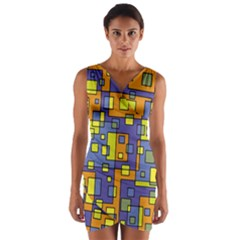 Square Background Background Texture Wrap Front Bodycon Dress