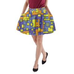 Square Background Background Texture A-Line Pocket Skirt