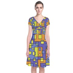Square Background Background Texture Short Sleeve Front Wrap Dress