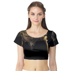 Smoke Fume Smolder Cigarette Air Short Sleeve Crop Top (tight Fit)