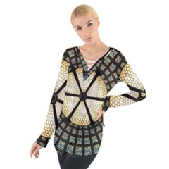 Stained Glass Colorful Glass Women s Tie Up Tee