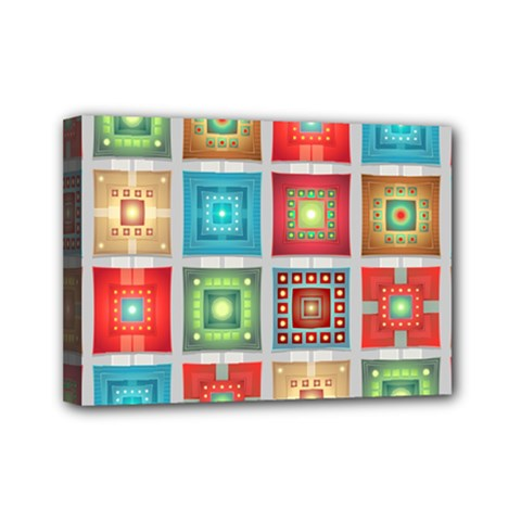 Tiles Pattern Background Colorful Mini Canvas 7  x 5
