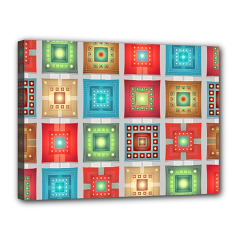 Tiles Pattern Background Colorful Canvas 16  X 12