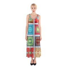 Tiles Pattern Background Colorful Sleeveless Maxi Dress