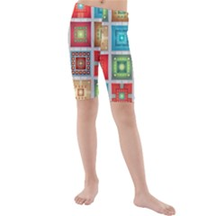 Tiles Pattern Background Colorful Kids  Mid Length Swim Shorts