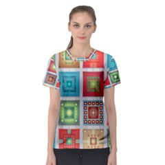 Tiles Pattern Background Colorful Women s Sport Mesh Tee