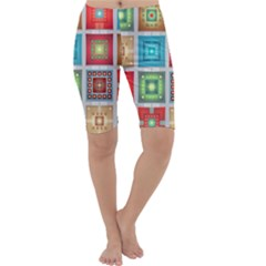 Tiles Pattern Background Colorful Cropped Leggings