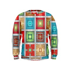 Tiles Pattern Background Colorful Kids  Sweatshirt