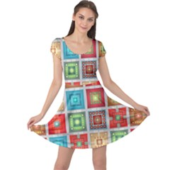 Tiles Pattern Background Colorful Cap Sleeve Dresses
