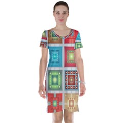 Tiles Pattern Background Colorful Short Sleeve Nightdress