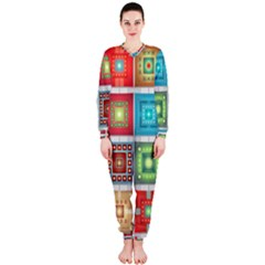 Tiles Pattern Background Colorful OnePiece Jumpsuit (Ladies)
