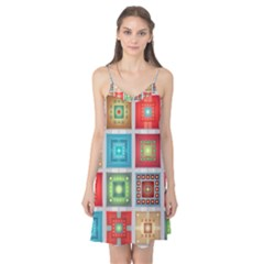 Tiles Pattern Background Colorful Camis Nightgown