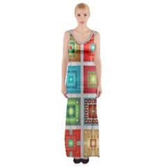 Tiles Pattern Background Colorful Maxi Thigh Split Dress