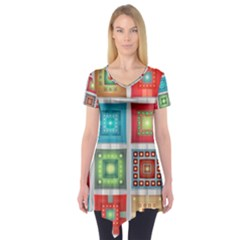 Tiles Pattern Background Colorful Short Sleeve Tunic