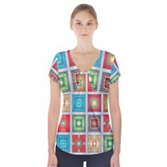 Tiles Pattern Background Colorful Short Sleeve Front Detail Top