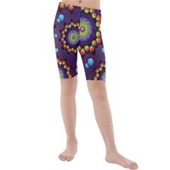 Texture Background Flower Pattern Kids  Mid Length Swim Shorts
