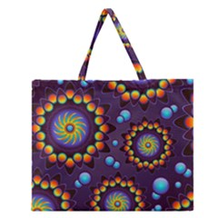 Texture Background Flower Pattern Zipper Large Tote Bag