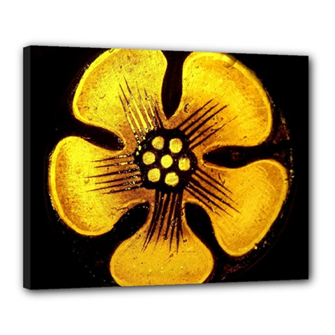 Yellow Flower Stained Glass Colorful Glass Canvas 20  X 16