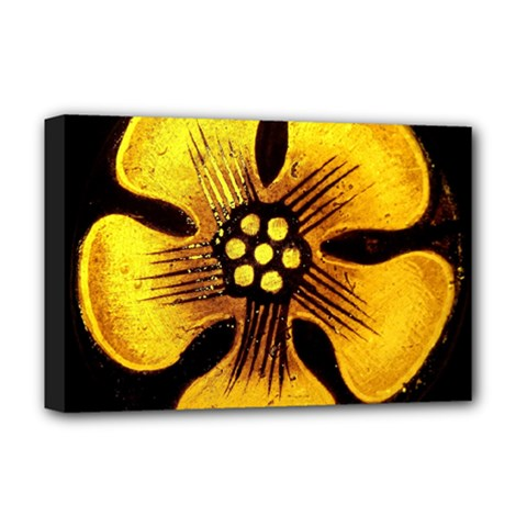 Yellow Flower Stained Glass Colorful Glass Deluxe Canvas 18  x 12