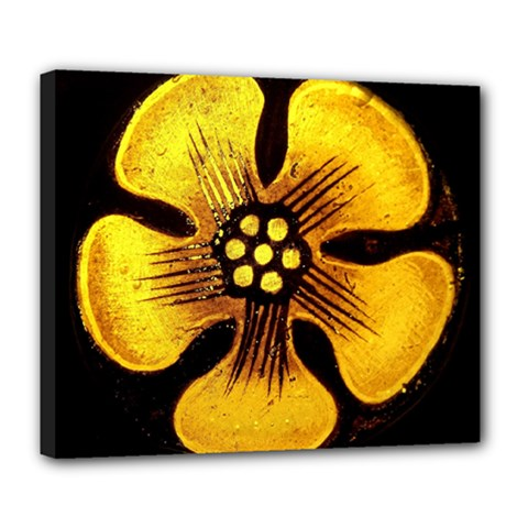 Yellow Flower Stained Glass Colorful Glass Deluxe Canvas 24  x 20