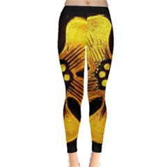 Yellow Flower Stained Glass Colorful Glass Leggings