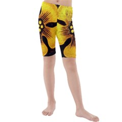 Yellow Flower Stained Glass Colorful Glass Kids  Mid Length Swim Shorts