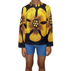 Yellow Flower Stained Glass Colorful Glass Kids  Long Sleeve Swimwear
