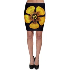 Yellow Flower Stained Glass Colorful Glass Bodycon Skirt