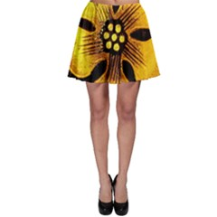 Yellow Flower Stained Glass Colorful Glass Skater Skirt