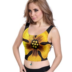 Yellow Flower Stained Glass Colorful Glass Crop Top
