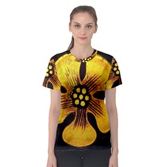 Yellow Flower Stained Glass Colorful Glass Women s Sport Mesh Tee