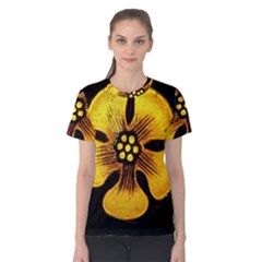 Yellow Flower Stained Glass Colorful Glass Women s Cotton Tee