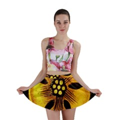 Yellow Flower Stained Glass Colorful Glass Mini Skirt
