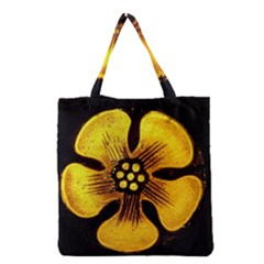 Yellow Flower Stained Glass Colorful Glass Grocery Tote Bag