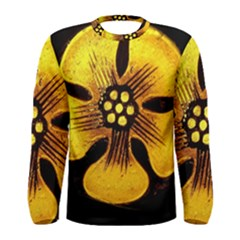 Yellow Flower Stained Glass Colorful Glass Men s Long Sleeve Tee