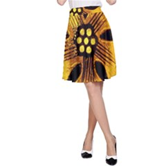 Yellow Flower Stained Glass Colorful Glass A Line Skirt