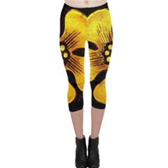 Yellow Flower Stained Glass Colorful Glass Capri Leggings