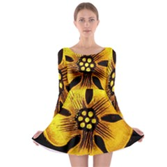 Yellow Flower Stained Glass Colorful Glass Long Sleeve Skater Dress
