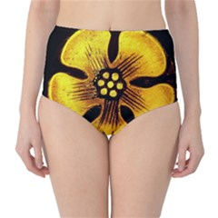 Yellow Flower Stained Glass Colorful Glass High Waist Bikini Bottoms