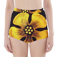 Yellow Flower Stained Glass Colorful Glass High-Waisted Bikini Bottoms