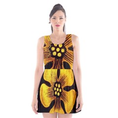 Yellow Flower Stained Glass Colorful Glass Scoop Neck Skater Dress