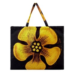 Yellow Flower Stained Glass Colorful Glass Zipper Large Tote Bag