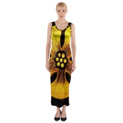 Yellow Flower Stained Glass Colorful Glass Fitted Maxi Dress