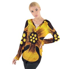 Yellow Flower Stained Glass Colorful Glass Women s Tie Up Tee